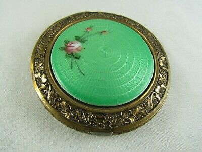 Vintage Green Guilloche Enamel w/Pink Rose, Orange Blossom Edgings, 20s