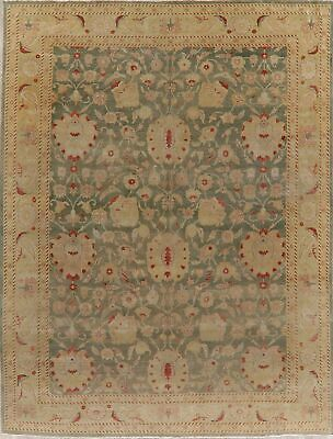 Antique All-Over Vegetable Dye GREEN Oushak Turkish Area Rug Hand-Knotted 10x13