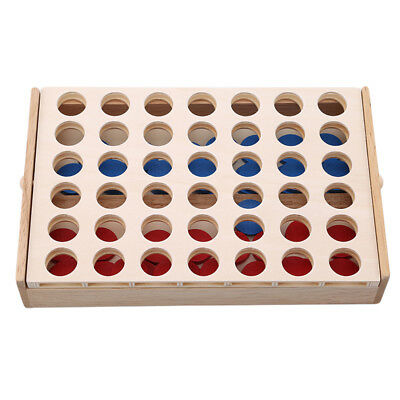 Wooden Games, Travel Board Game Foldable Line up Toy For Fun Four in Row Kids J