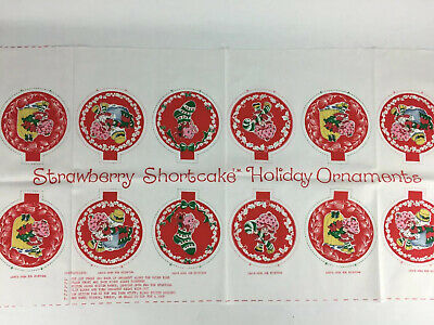 Vtg Strawberry Shortcake Spring Mills Red Material Pattern Ornaments For Sewing
