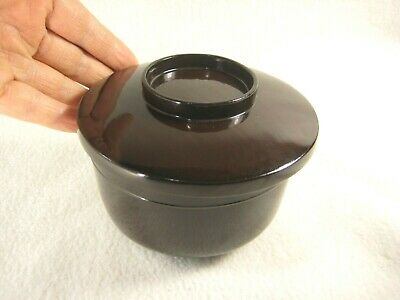 ANTIQUE JAPANESE MEIJI ERA c. 1890 HAND TURNED WOODEN BROWN LACQUER LIDDED BOWL