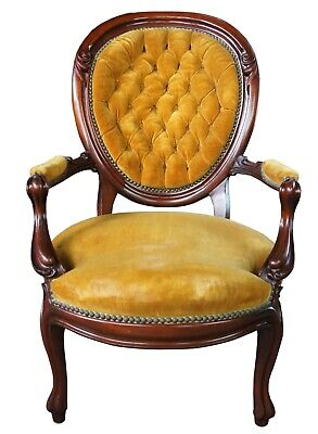 Victorian Antique Mahogany Balloon Back Parlor Gentlemans Chair Gold Tufted