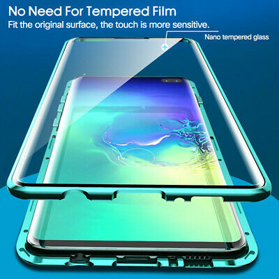 For Samsung Note 9 Note 10 Plus S10 S9 360° tempered Glass Metal Magnetic Case