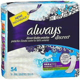 Always Discreet Pads Long Length Moderate Absorbency - 3pks of 54, Pack of 2