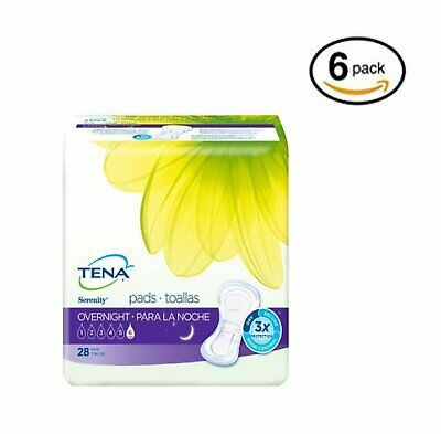 TENA Incontinence Pads for Women, Overnight, 28 Count, 6 Pack Bundle