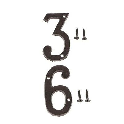 3 &6 Metal Wrought Iron House Address Number Digits for Home Door Sign Plate