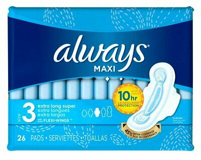 Always Pads Maxi Extra-Long Size 3-26 Count Super (6 Pack)