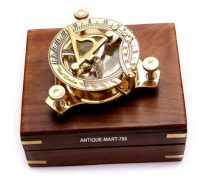 Nautical Sundial Compass West London Marine With Wooden Box