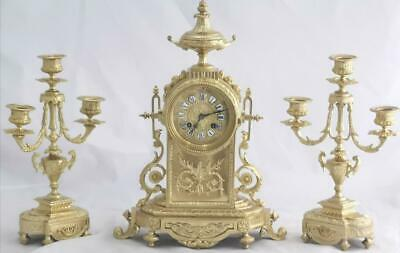 Beautiful Antique 19th c French Gilt Pierced Bronze Mantle Clock Garniture Set