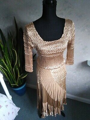BNWT Gina Bacconi Vintage Gold Two Piece Skirt and Top Set M (12 + 14) RRP £170