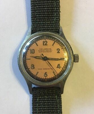 Helbros Watch Mens 17 Jewels Mechanical Ww2 Military Dial