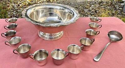 Vintage Towle Silver Plated Punch Bowl Set Royal Rose 12 Cups & Ladle BEAUTIFUL!