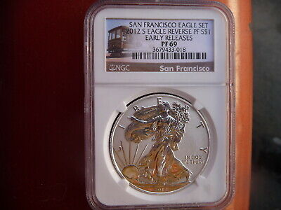 2012 s reverse proof silver eagle NGC PF 69 (trolley label)