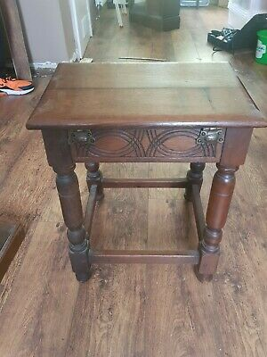 Antique Wood Treen Coffin Joint Stool Occasional Table In 17c Style