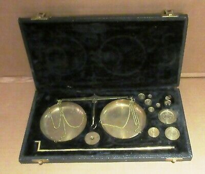 Vintage  Brass  Jewellers  Balance  Scale  With  Weights  In  Velvet  Box