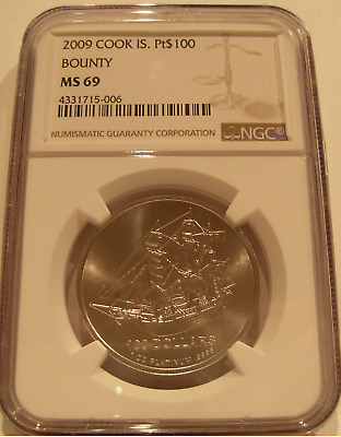 Cook Islands 2009 Platinum 1 oz NGC MS-69 Bounty