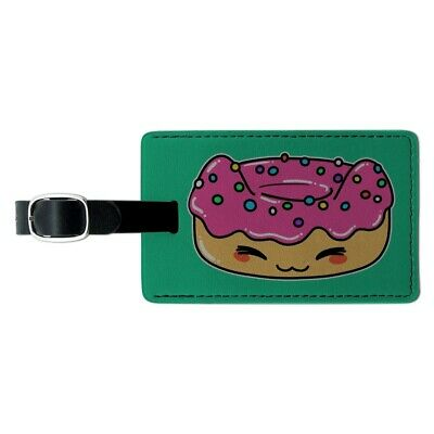 Cute Kawaii Cat Donut Rectangle Leather Luggage Card Suitcase Carry-On ID Tag