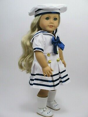 """Nice Used American Girl Doll """"Caroline Abbott"""" wearing Nautical Outfit"""