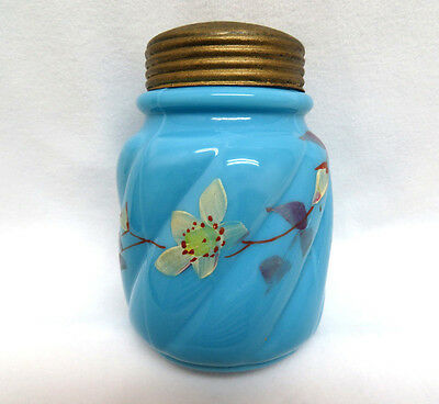 Glass Sugar Shaker Muffineer ~ Hand Painted Floral on Blue Opaline