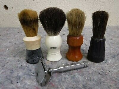 Vintage Ever Ready Safety Razor & Shaving Brush Lot-Bekelite,Pure Badger England