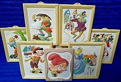 Vintage Plastic Children's Fairy Tale Character Disney Wall Hanging Lot Of 7