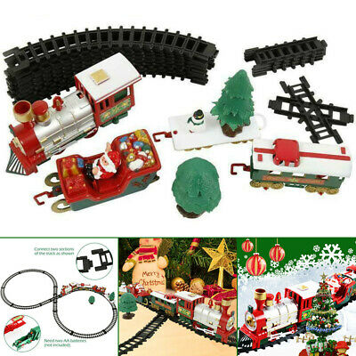 Electric Christmas Train Track Set Light Musical Sound Around Tree Kids Gift