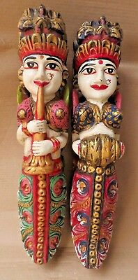 Antique carved female figurine Musician wall mount painted Replica bracket 2pc B