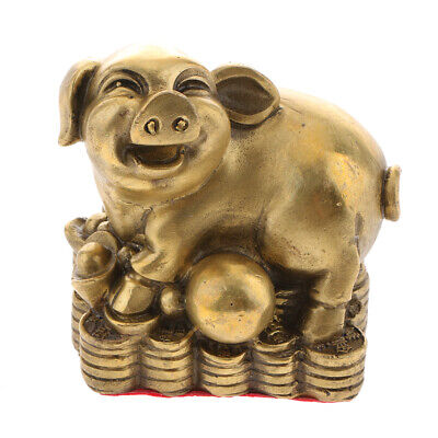 Chinese Zodiac Animal Ornament Coin Pig Statute Sculpture Money Lucky Wealth