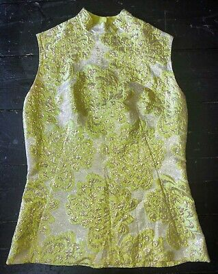 Vintage lime and gold embossed lurex 1960's top