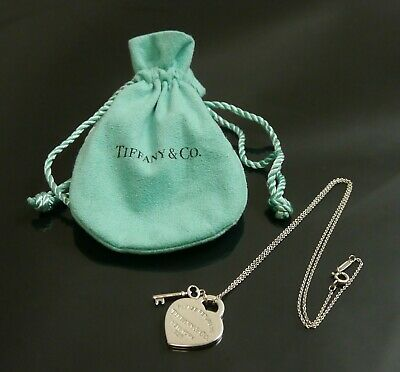 Authentic Tiffany & Co. Necklace Return to Heart Key Sterling Silver #7589