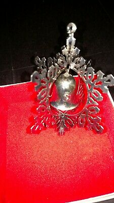 1st Annual Reed & Barton Silver Plated Snowflake & Bell Ornament In Box