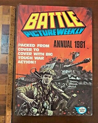 Vintage Battle War Comic Story Book Annual Hb Uk Camo Tommy Vs Panzers Cover!!!