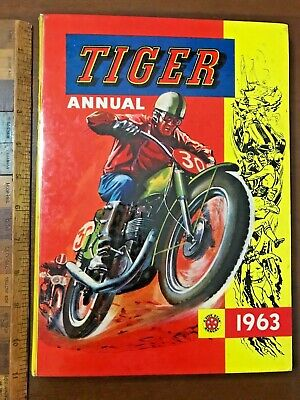 Vint 1963 Tiger Sci-Fi Spy Soccer Adventure Comic Story Book Annual Hb Uk Exc-Nm