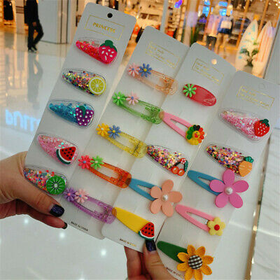 5pcs/set Girls Waterproof PVC Glitter Fruit Hair Clips Kids Cute Jelly Hairpins