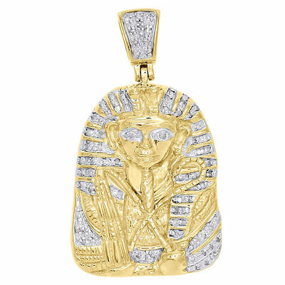 Yellow Sterling Silver Diamond Egyptian Pharaoh King Tut Pendant Charm 0.20 Ct