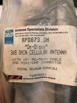 "Motorola, APD873.3M ""On-Glass"" 3dB Gain Cellular Antenna w/15' RG-58/U Cable New"