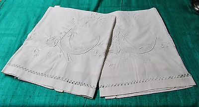 Pair KING SIZE Lay Over Pillow Shams Italian Embroidery Birds Flowers Drawnwork