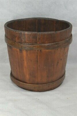"bucket hand made wooden 11 x 12"" lap bands antique original 19th c 1800"