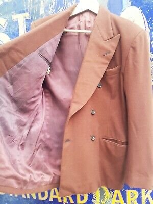 Vintage Morris Angel theatre costumiers, rust brown thick wool suit 20's 30's 40