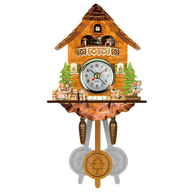 Antique Wooden Cuckoo Wall Clock Bird Time Bell Swing Alarm Watch Home Art D Q6F