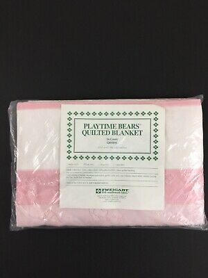 """Zweigart Playtime Bears Quilted Baby Blanket 31""""x42"""" 14 count Cross Stitch Pink"""