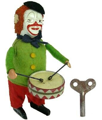 Vintage Schuco Wind-up Clown Playing Drums Snare Drummer Germany w/Key Works
