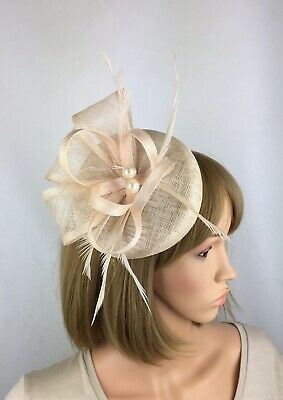 Champagne Nude Fascinator Wedding Hatinator Pillbox Mother of the Bride Ascot
