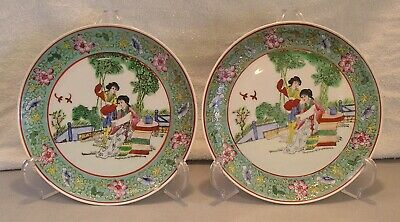 Chinese Famille Rose Vtge Porcelain Plates Ladies in Garden Red Stamp Hand Paint