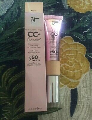 IT Cosmetics CC+ Cream (MEDIUM) Your Skin but better Illumination SPF 50. NIB.