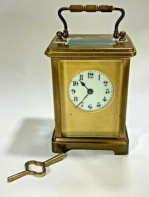 Antique French MF & Co Carriage Clock Porcelain Face Fine Working Condition 1880