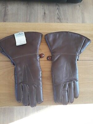 Vintage Fownes  Brown Leather Gloves, Wool Lined, Ideal For Vitage Motoring