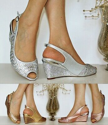 SALE Womens Ladies Diamante Evening Party Wedge Low Mid Heel Shoes Sandals Size
