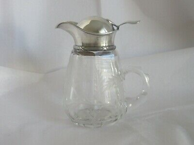 Antique STERLING & CUT GLASS WITH ETCHED details,SYRUP PITCHER,BEAUTIFUL,  B74