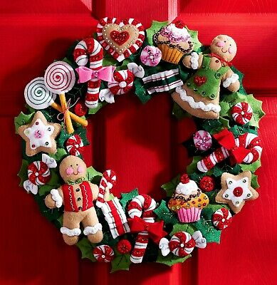 Bucilla Cookies & Candy Wreath ~ Felt Christmas Kit #86264, Gingerbread